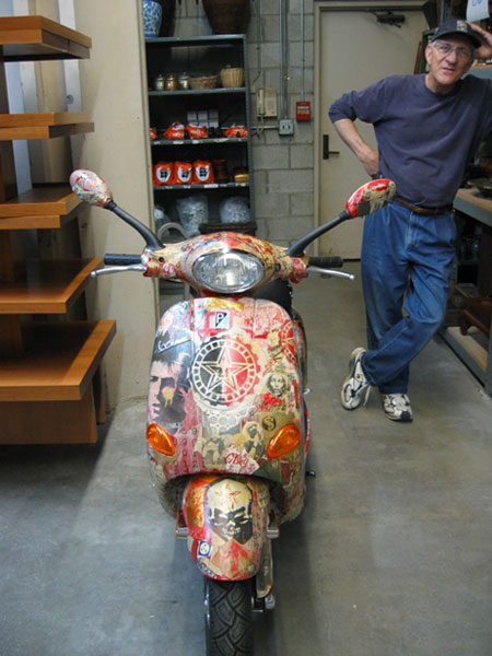 a Vespa decorated by artist Shepard Fairey